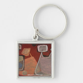 Indians in space #7 Silver-Colored square key ring