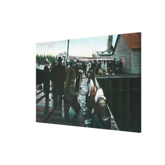 Indians Selling Curios at Yakital, Yukon Stretched Canvas Print