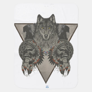 Indians Skull and Wolf Design Buggy Blankets