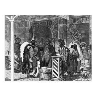 Indians Trading at a Frontier Town Postcard