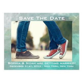 Indie Boho Watercolor Wedding Save The Date Postcard