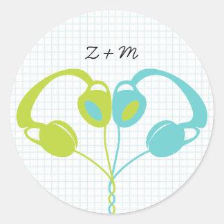 Indie Headphone Heart Blue / Lime Green Wedding Round Sticker