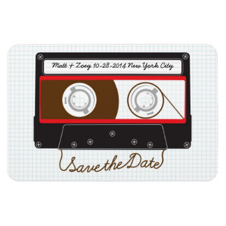 Indie Mixtape (Black/Red) Save the Date v1 Flexible Magnet