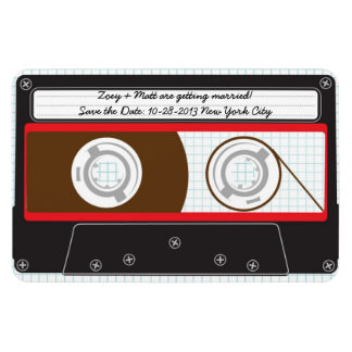 Indie Mixtape (Red/Black) Save the Date v2 Flexible Magnets