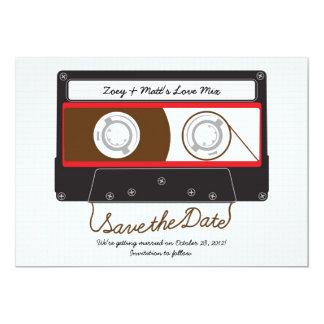"""Indie Mixtape Wedding (Black / Red) Save the Date 5"""" X 7"""" Invitation Card"""