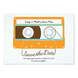 Indie Mixtape Wedding (Orange/Sky) Save the Date Card