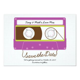 Indie Mixtape Wedding (Purple/Lime) Save the Date 13 Cm X 18 Cm Invitation Card