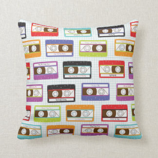 Indie Mixtapes Retro 80s Cassette Tape Pattern Cushion