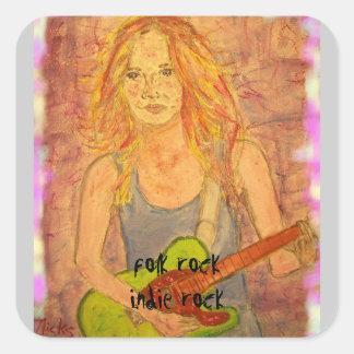 indie rock girl art square sticker