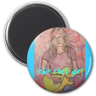 Indie rock girl refrigerator magnet