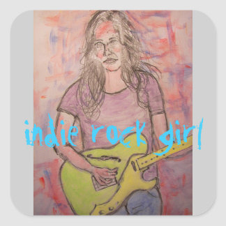 Indie rock girl square sticker