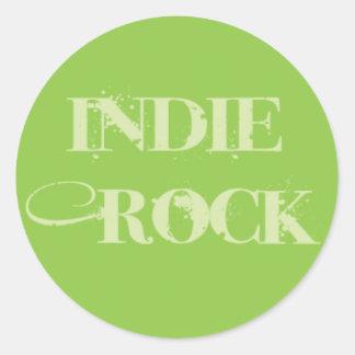 Indie Rock Text on Green Round Sticker
