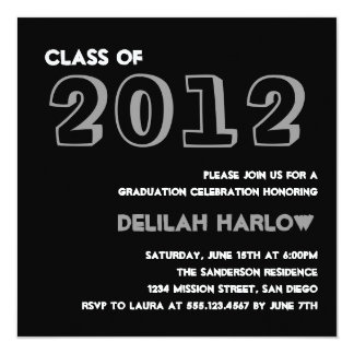"Indie style drawn on black graduation announcement 5.25"" square invitation card"