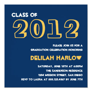 "Indie style drawn on navy graduation announcement 5.25"" square invitation card"