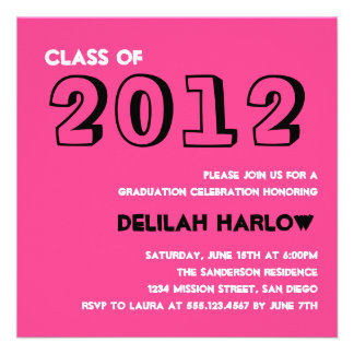 Indie style drawn on pink graduation announcement