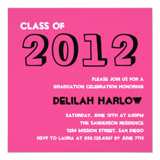 "Indie style drawn on pink graduation announcement 5.25"" square invitation card"
