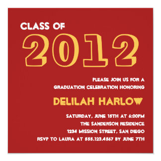 "Indie style drawn on red graduation announcement 5.25"" square invitation card"