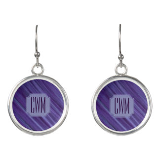 Indifferent Bling | Monogram Purple Violet Lilac Earrings
