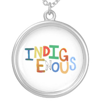 Indigenous native people culture fun colorful art round pendant necklace
