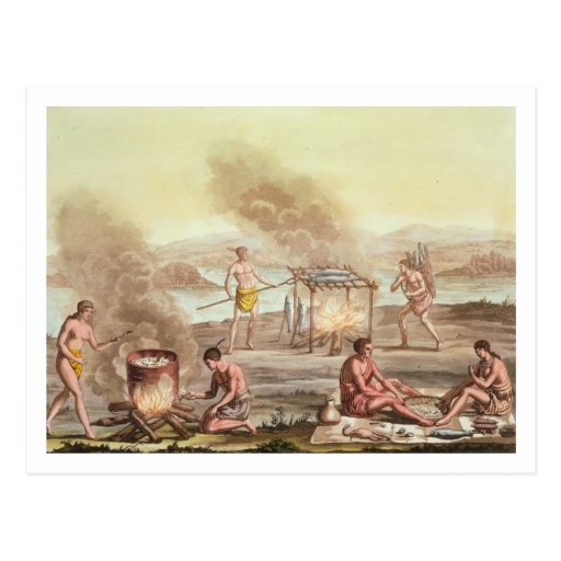 Indigenous natives from Florida preparing and cook Postcard