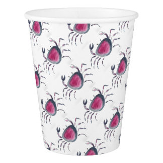 Indigo and Pink Crab Paper Cup