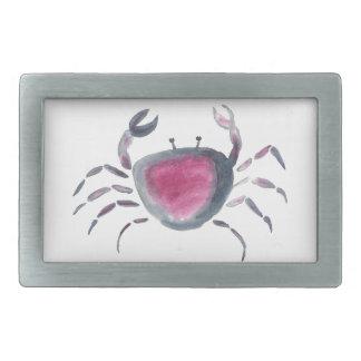 Indigo and Pink Crab Rectangular Belt Buckles