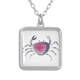 Indigo and Pink Crab Silver Plated Necklace
