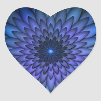 Indigo and Purple Abstract Flower Art Heart Sticker