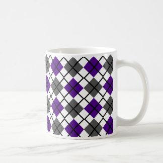 Indigo, Black, Grey on White Argyle Print Mug