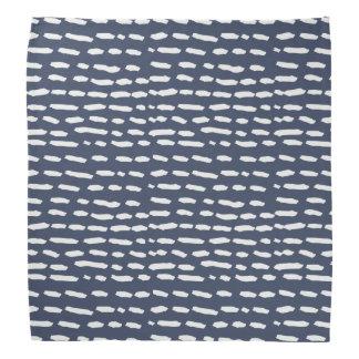 Indigo Blue and Grey Dash - Brushstroke - Bandana