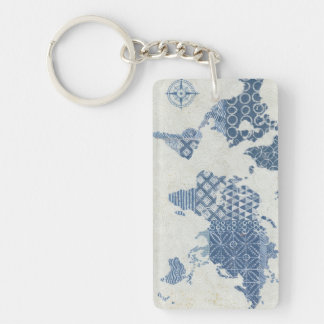 Indigo Blue Batik Map of the World Key Ring
