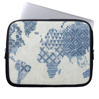 Indigo Blue Batik Map of the World Laptop Sleeve
