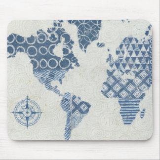 Indigo Blue Batik Map of the World Mouse Pad