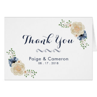 Indigo Blue & Beige Floral Wedding Thank You Card