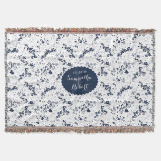 Indigo Blue Clematis Floral design personalized Throw Blanket