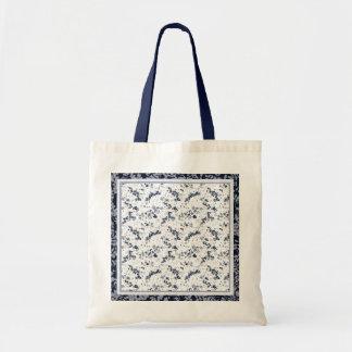 Indigo Blue Clematis Floral Tote Bag