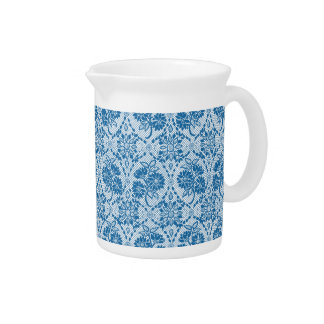 Indigo Blue Floral Faux Lace Pattern to Customize Pitchers
