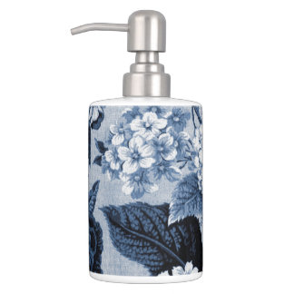 Indigo Blue Floral Toile No.1 Soap Dispenser And Toothbrush Holder