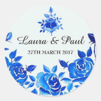 Indigo Blue Floral Wedding Sticker
