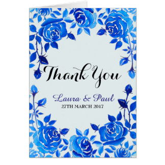 Indigo Blue Floral Wedding Thank You Card