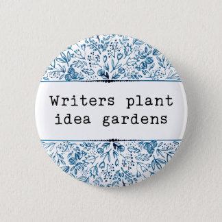 Indigo Blue Floral | Writers Plant Idea Gardens 6 Cm Round Badge