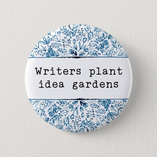 Indigo Blue Floral | Writers Plant Idea Gardens 6 Cm Round Badge