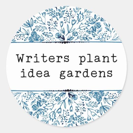 Indigo Blue Floral | Writers Plant Idea Gardens Classic Round Sticker