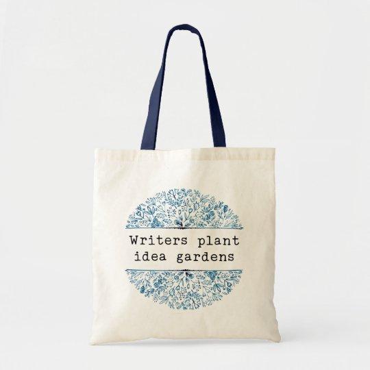 Indigo Blue Floral   Writers Plant Idea Gardens Tote Bag