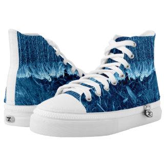 Indigo Blue High Top Unisex Sneaker Printed Shoes