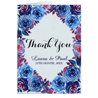 Indigo Blue & Red ink Floral Thank You Card