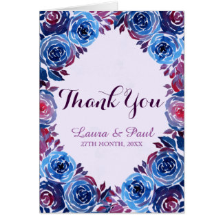 Indigo Blue Red Purple Floral Thank You Card