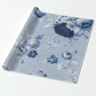 Indigo Blue Tone Vintage Floral Toile Fabric No.5 Wrapping Paper