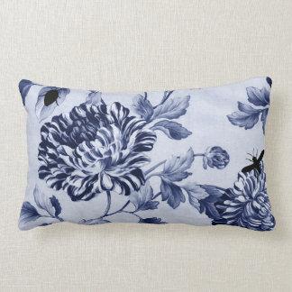 Indigo Blue Vintage Botanical Bugs Floral Toile Lumbar Cushion