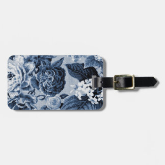 Indigo Blue Vintage Botanical Floral Toile No.1 Luggage Tag